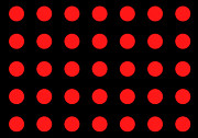 Tunnels Digital Art Prints - ARRAY of RED CIRCLES on BLACK Print by Daniel Hagerman
