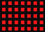 Tunnels Digital Art Prints - ARRAY of RED SQUARES on BLACK Print by Daniel Hagerman