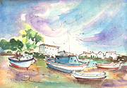 Travel Sketch Prints - Arrecife in Lanzarote 01 Print by Miki De Goodaboom