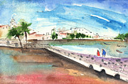 Canary Drawings Prints - Arrecife in Lanzarote 02 Print by Miki De Goodaboom