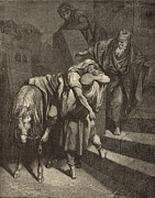 Bible Drawings Metal Prints - Arrival of the Samaritan at the Inn Metal Print by Antique Engravings