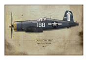 U.s.s. Posters - Arrow 188 F4U Corsair - Map Background Poster by Craig Tinder