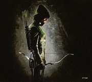 Tv Show Prints Prints - Arrow Stephen Amell Print by Elizabeth Coats