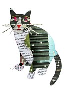 Mixed Media Collages Prints - Art Cat  Print by Brian Buckley