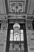 Union Station Lobby Photos - Art Deco Chandelier - bw by Nikolyn McDonald