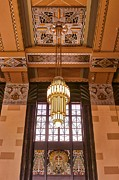 Union Station Lobby Framed Prints - Art Deco Chandelier Framed Print by Nikolyn McDonald
