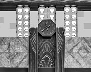 Union Station Lobby Prints - Art Deco Clock - bw Print by Nikolyn McDonald