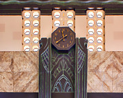 Union Station Lobby Posters - Art Deco Clock Poster by Nikolyn McDonald