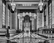 Historical Chandeliers Posters - Art Deco Great Hall #1 - bw Poster by Nikolyn McDonald