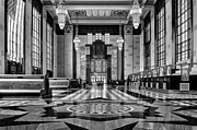 Union Station Lobby Framed Prints - Art Deco Great Hall #2 - bw Framed Print by Nikolyn McDonald