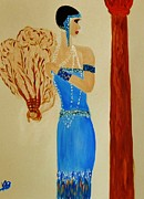 Fan Art Paintings - Art Deco Lady With Fan by Marie Bulger