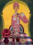 Women Drawings Prints - Art Deco Tea Drinking 1926 1920s Spain Print by The Advertising Archives