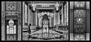 Union Station Lobby Framed Prints - Art Deco Triptych #1 - bw Framed Print by Nikolyn McDonald