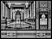 Union Station Lobby Framed Prints - Art Deco Triptych #2 - bw Framed Print by Nikolyn McDonald