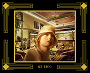 My Art In Your Home Slide Show  - Art Deco - Woman in Lobby by Chuck Staley