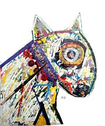 Mixed Media Collages Prints - Art Dog  Print by Brian Buckley