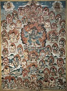 Tibetan Art Framed Prints - Art From North Nepal. The Heaven Framed Print by Everett