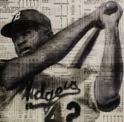 Jackie Robinson Drawings - Art in thenews 16-Jackie by Michael Cross