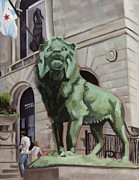 Chicago Landmark Paintings - Art Institute of Chicago An Act of Defiance by Rick Liebenow