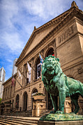 Museum Prints - Art Institute of Chicago Lion Statue Print by Paul Velgos