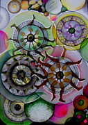Circles Drawings Originals - Art Must Go On by Simona Dancila