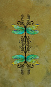 Dragonflies Mixed Media - Art Nouveau Damselflies by Jenny Armitage