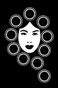 Black And White Portraits Prints - Art Nouveau Design Print by Frank Tschakert