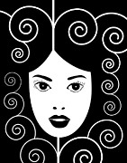 Face Prints Drawings - Art Nouveau Poster by Frank Tschakert