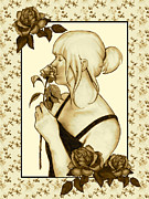Art Nouveau Style Woman With Roses Print by Joyce Geleynse