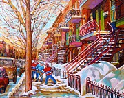 City Streets Drawings Prints - Art Of Montreal Staircases In Winter Street Hockey Game City Streetscenes By Carole Spandau Print by Carole Spandau