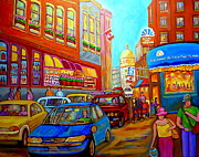 Streetscenes Paintings - Art Of Montreal Summer Street Scenes Of Quebec With Caleche Near Cafes On Cobblestones Old Montreal by Carole Spandau