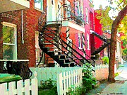 Montreal Paintings - Art Of Montreal White Picket Fence In Verdun Summer Street Scenes Staircases Porches Carole Spandau by Carole Spandau