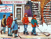 Verdun Winter Scenes Framed Prints - Art Of Verdun Depanneur Deli Patisserie Fleuriste Fruits Montreal Paintings Hockey Art Scenes Verdun Framed Print by Carole Spandau