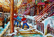 Winter Scenes Drawings Metal Prints - Art Of Verdun Staircases Montreal Street Hockey Game City Scenes By Carole Spandau Metal Print by Carole Spandau