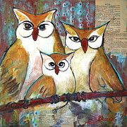 Cute Mixed Media Metal Prints - Art Owl Family Portrait Metal Print by Blenda Studio