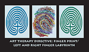 Anne Cameron Cutri Metal Prints - Art Therapy Directive Finger Labyrinth Fingerprint Metal Print by Anne Cameron Cutri