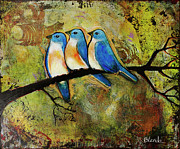 Bluebird Framed Prints - Art Three Bluebirds on aBranch Framed Print by Blenda Tyvoll