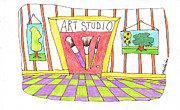 Studio Drawings - Art Toons Red Door by Linda Blondheim