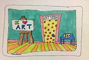 Studio Drawings Framed Prints - Art Toons Studio 2 Framed Print by Linda Blondheim