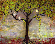 Tree Paintings - Art Tree Print Owl Landscape by Blenda Tyvoll