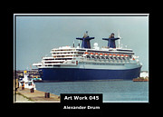 Stainless Steel Mixed Media Metal Prints - Art Work 045 passenger ship Metal Print by Alexander Drum