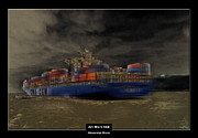 Stainless Steel Mixed Media Metal Prints - Art Work 068 Container Ship Metal Print by Alexander Drum