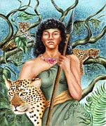 Warrior Goddess Painting Framed Prints - Artemis Framed Print by Karin  Leonard