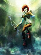 Floating Girl Prints - Artemis Rising Print by Andrea Tseng