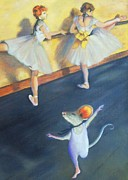Ballet Dancers Painting Framed Prints - Artemouse with Dancers at the Barre Framed Print by Debbie Patrick