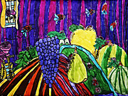 Grape Drawings Metal Prints - Arthropod Intrusion Metal Print by Stephanie Ward