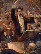 Male Framed Prints - Arthur Nikisch Conducting a Concert at the Gewandhaus in Leipzig Framed Print by Robert Sterl