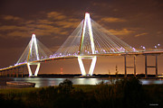 Famous Bridge Metal Prints - Arthur Ravenel Jr. Bridge   Charleston South Carolina  Metal Print by Christopher  Ward