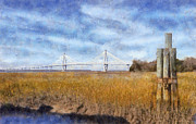 Yellow Bridge Digital Art Posters - Arthur Ravenel Jr. Bridge Poster by Daniel Eskridge