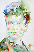 Drawing Painting Originals - Arthur Rimbaud Watercolor Portrait.1 by Fabrizio Cassetta